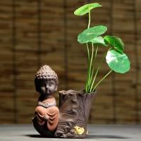 Desktop Lila Sand Buddha Statue Buddhismus Buddha Bild Keramik Kleine Vase Wohnzimmer Dekoration Statuen & Skulpturen