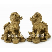 Feng Shui Messing statue Pair Geld CHILIN chilin