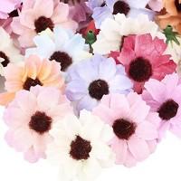 FLOFIA 100 Stück Künstliche Blumenköpfe Blütenköpfe Seiden Kunstblumen Köpfe Seidenblumen Künstliche Blumen Deko Bunt Gefälschte Chrysantheme Kopfe für Hochzeit Party Fest Heimdekoration Ø4cm