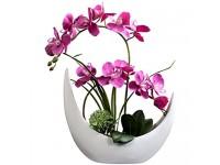 Fudostar Kunstblumen aus Seide in beigefarbener Keramikvase natürlich aussehende Phalaenopsis-Blumen und Grün Rose Large