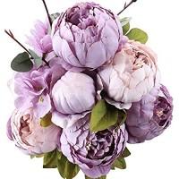 Ksnnrsng Künstliche Blumen Pfingstrose Kunstblumen Seidenblumen Gefälschte Unechte Blumen Seide Pfingstrose Seide Blumenstrauß Jahrgang Hochzeit Zuhause Dekoration Neues Lila
