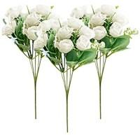 Künstliche Rosen JPYZ 3 pcs Künstliche Deko Blumen Gefälschte Blumen Seidenrosen Plastik Kunstblumen Fake Rose für Hausgarten Hochzeit Dekoration 10 Kopf