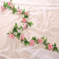 Pauwer Seide Künstliche Rosenblüten Hängende gefälschte Rosengirlande für den Garten Hausdekoration 6 Stück Dunkelpink