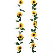 YQing Künstliche Sonnenblumen-Girlande Seide Sonnenblumen Weinrebe künstliche Blumen mit grünen Blättern Hochzeitstisch Dekoration 2 Stück
