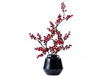 NYKK Künstliche Bonsai Silk Flower Berry Bonsai und Schwarze Vase verwendet Werden künstliche Blumen-Bonsais im Wohnzimmer Hotel- und Büro anzeigen Künstliche Blumen Bonsai