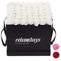 Relaxdays Rosenbox eckig 49 Rosen stabile Flowerbox schwarz 10 Jahre haltbar Geschenkidee dekorative Blumenbox weiß