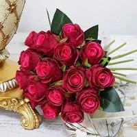 WJFQ Künstliche Blumen Künstliche Rose Blumen Rote Braut Hochzeit Blumenstrauß 18pcs / Lots for Shoting Hochzeit Home Hotel-Partei-Dekoration Blumenarrangements
