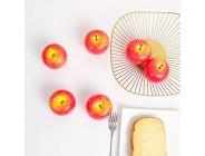 JUSTOYOU Realistische gefälschte Äpfel künstliche Apfel-gefälschte Fruchtsimulation rote Äpfel lebensechte Kunststoff-Obst-Set für Haushaus Küche Hochzeitsfeier Dekoration Fotografie 6pcs