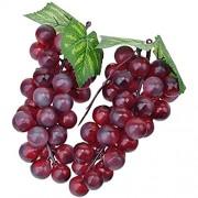 zhangming 2pc Deko Kunststoff Weintrauben Wein Trauben Kunstobst Plastikobst künstliches Obst Gemüse Dekoration 2 mal 17cm Lila