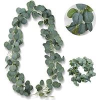 BOYATONG Künstliche Eukalyptus 1 Stück Künstlich Pflanze Blätter Deko Girlande Hochzeit Eukalyptus Kranz für zu Hause Küchen Garten Büro Hochze