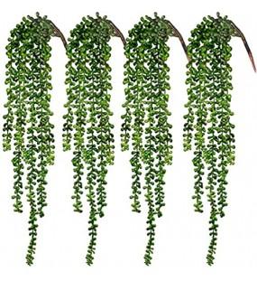 CEWOR Künstliche Sukkulenten hängende Pflanzen künstliche Perlenschnur für Wand Haus Garten Dekoration 60 cm pro Länge 4 Stück