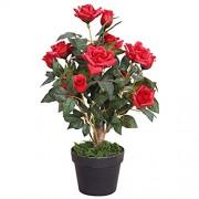 Decovego Rose Rosenstock Rosenbusch Kunstpflanze Künstliche Pflanze mit Blüten Rot Echtholz 65m