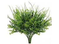 NAHUAA 4pcs Kunstpflanze Draußen Künstliche Pflanze Wetterfest Grünpflanze Unechte Pflanzen Künstliche Balkonpflanzen Plastikpflanzen für Frühling Balkon Garten Hochzeit Hause Deko Grün