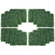 uyoyous 12 Stück Künstliche Hecke Hängepflanzen 40X60cm Pflanzenwand UV-Schutz für Haus Zimmer Garten Hochzeit Girlande Außerhalb Dekoration - Dunkelgrün