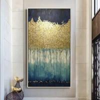 Gold Blatt Geld Baum Handgemalte Moderne Abstrakte Ölgemälde Auf Leinwand Wand Kunst Für Wohnzimmer Dekoration Keine gerahmte Malerei und Kalligraphie