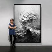 Hand bemalt abstrakte ölgemälde Schwarz & weiß Meer Wellen Wandbild Dick textur Leinwand gemälde Villa wohnzimmer Eingang kunst Malerei und Kalligraphie