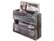 MyGift Zeitschriftensammler rustikal gebranntes Holz