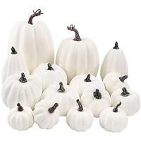 FUNARTY 16 x weiße künstliche Kürbis verschiedene Größen Kürbisse für Herbsternte Party-Dekoration Halloween Thanksgiving-Dekoration