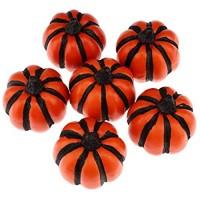Gresorth 6 Stück Künstlich Orange Schwarz Linie Kürbis Fälschung Gemüse Halloween Christmas Zuhause Party Holiday Dekoration