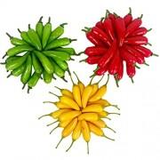 Lorigun 60 Stücke Künstliche Kleine Chili Simulation Pfeffer Mini DREI-Farbe Rot + Gelb + Grün Kleine Paprika Lebensechte Gefälschte Gemüse Wohnkultur Jede Farbe 20 Stücke