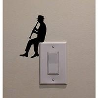 Hhuycvff vwuig Mann spielt Klarinette PVC Dekoration Aufkleber Wand Home Schlafzimmer Schalter Decal0033