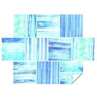 Grawade Fliesenaufkleber Bad 10x10cm Maritim Blaue Streifen Set mit 10 Stück