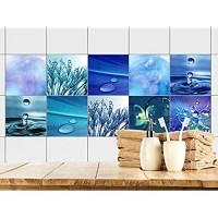 GRAZDesign Fliesenaufkleber Bad 15x15 - Fliesen zum Aufkleben | Selbstklebende Folie für Badezimmer | 10 Blaue Motive mit Wasser 15x15cm // Set 10 Stück
